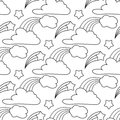 Clouds, stars, rainbow seamless pattern. Cartoon pattern for kids coloring book