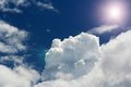Clouds and the sun blue sky dramatic view Royalty Free Stock Photo