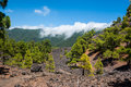 Clouds tumbling over a mountain ridge at la palma canary islands spain Royalty Free Stock Photos