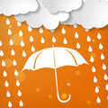 Clouds with umbrella and rain drops on an orange backgroun white background Stock Images