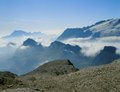 Clouds under marmolada cover the valleys around Royalty Free Stock Photos
