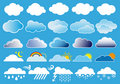 Clouds and weather symbols, vector Royalty Free Stock Photo
