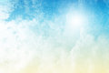 Clouds on yellow to blue gradient background a colorful and grunge Royalty Free Stock Photo