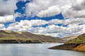 Cloudscape and mountain reservoir lake Royalty Free Stock Image