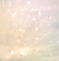 Cloudscape with sunbeams and hearts Royalty Free Stock Photos