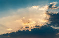 Cloudscape with sunray beautiful at sunset Royalty Free Stock Photos