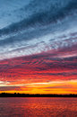 Cloudscape at sunset colourful of altocumulus clouds lake ijssel netherlands Royalty Free Stock Image