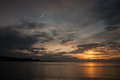Cloudscape at twilight on the sea and sunset gulf of st lawrence in cape chat gaspe peninsula quebec Royalty Free Stock Photography