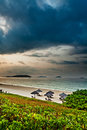 Cloudy beach in the morning Stock Photography