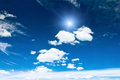 Cloudy blue sky summer day background Royalty Free Stock Photography