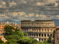 Cloudy colosseo a shot of magnificient and italian icon in rome in a day Royalty Free Stock Image