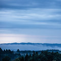 Cloudy hilly landscpe foggy ground in front of a mountain chain with trees in the foreground Royalty Free Stock Photos