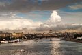 Cloudy landscape view of the river in moscow russia Royalty Free Stock Photo