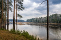 Cloudy and rainy day in the forest on the banks of the river Pyshma, Russia, Ural Royalty Free Stock Photo