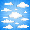 Cloudy sky abstract vector background of white clouds in blue Stock Photos