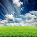 Cloudy sky with green grass meadow Royalty Free Stock Photo