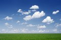 Cloudy sky over the field Stock Photography