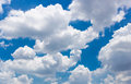 Cloudy sky on the sunny day many clouds floating blue during Stock Images