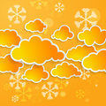 Cloudy snow background or forecast of snowy season orange Royalty Free Stock Image