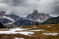 Cloudy spring weather in dolomites mountains italian Stock Photo
