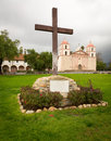 Cloudy stormy day at Santa Barbara Mission Royalty Free Stock Photography