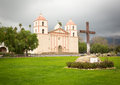 Cloudy stormy day at Santa Barbara Mission Royalty Free Stock Photos