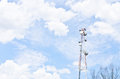 Cloudy stormy sky with communication tower Stock Image