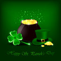 Clover hat pot gold green background illustration Royalty Free Stock Images