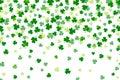 Clover leaf flat design green backdrop. Falling leaves
