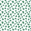 Clover leaf seamless pattern, hand drawn doodle vector illustration. St Patricks Day symbol, Irish lucky shamrock background