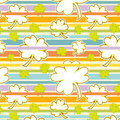 Clover and rainbow seamless pattern cute on a colorful striped background Royalty Free Stock Photo