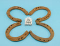 Clover retro horse shoes gamble dice on blue Stock Photos
