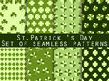 Clover. Set of seamless pattern with clover. St.Patrick's Day. Green color. Vector illustration.