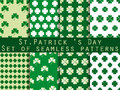 Clover. Set of seamless pattern with clover. St.Patricks Day. Green color. Vector
