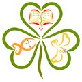 Clover with three leaves, a fish with a cross, a bible and a bird Royalty Free Stock Photo