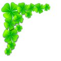 Cloverleaf decorative border with four leaf clovers as luck charm Stock Photos