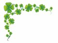 Cloverleaf illustration of a decorative border with clover leaves Stock Image