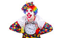 Clown with alarm clock isolated on white Royalty Free Stock Images
