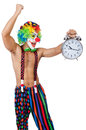 Clown with alarm clock on white Stock Images