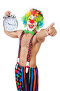 Clown with alarm clock on white Royalty Free Stock Images