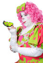 Clown Amazed at Buttefly Royalty Free Stock Photos