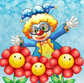 A clown at the back of the three lovely flowers illustration Royalty Free Stock Images