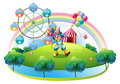 A clown with balloons at the carnival in the island illustration of on white background Royalty Free Stock Image
