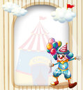 A clown with balloons at the entrance of the carnival illustration Royalty Free Stock Photos