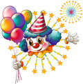 A clown with balloons and a firework display illustration of on white background Royalty Free Stock Images