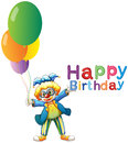 A clown with balloons and a happy birthday greeting illustration of on white background Stock Image