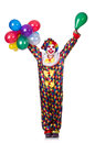 Clown with balloons isolated on white Stock Photo