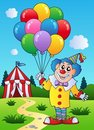 Clown with balloons near tent Stock Photography