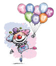Clown with Balloons Saying Thank You - Baby Colors Royalty Free Stock Photo