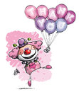 Clown with Balloons Saying Thank You - Girl Colors Royalty Free Stock Photo